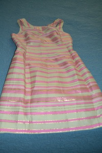 "Lilly Pulitzer - 8 *ALTERED for approx. size 4* Measurements: Armpit to Armpit: 17"", under bust 15"", waist 15"", length 34"" - $60"